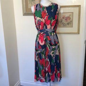 Catherine Malandrino Floral Pleated Dress Sz4